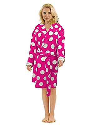 Terry Cotton Hooded Bathrobe for Women, Polka Dot Robe for Ladies