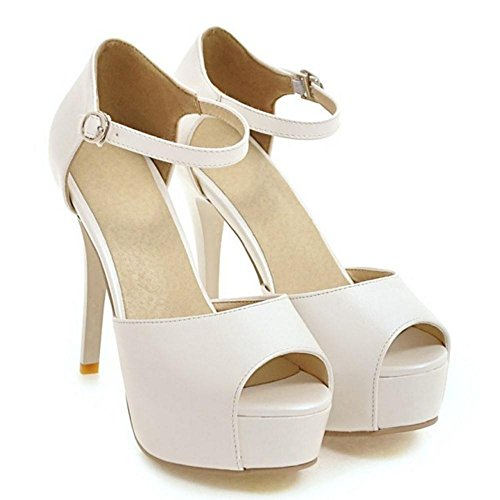 White Chaussures Peep VulusValas Toe Femmes Sandales wUSTTqX6