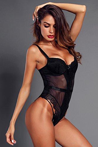 Leotard Tuta Lingerie Donna pagliaccetto Bodysuit 2 MASHIKOU Nero Pizzo Elegante Intimo Camicie Top Estivi Blusa Body Sexy Abbigliamento CpwPnqHv6