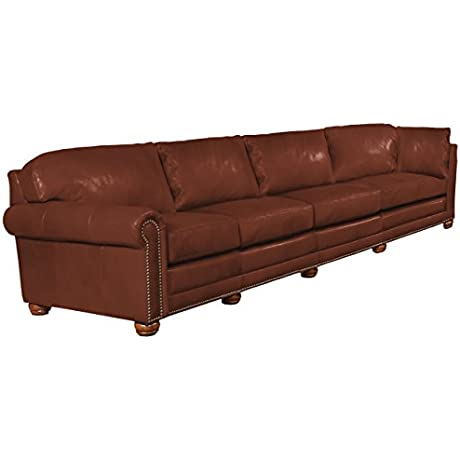 Omnia Leather Dominion Left Arm 4 Cushion Sofa In Leather With Right Return With Nail Head Eugene Cognac