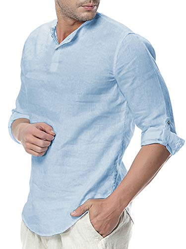 Taoliyuan Men Roll-up Sleeve Henley Shirt Fall Cotton Linen Blend Slim Fit Tunic Light Perspective Workout T Shirt ()
