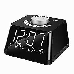 Shinea Digital Alarm Clock Radio with FM Radio,4.7 Inch LED Display,Dual USB Charging Ports,Adjustable Volume,Brightness Dimmer,Temperature Display, Alarm Clocks for Bedrooms,Easy To Set
