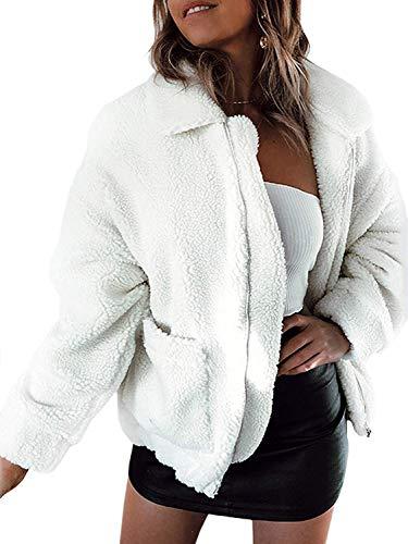 Walant Manteau Femme Automne Hiver Casual Oversize Lapel Manches Longues Veste Blouson Chaud Laine Zipper Coton Manteau Outwear avec Poches Blanc