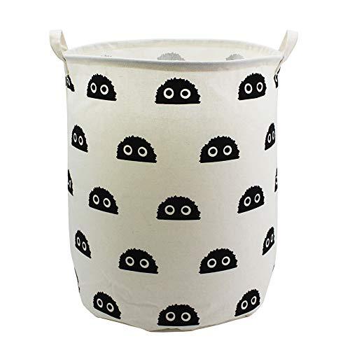 Mziart Large Storage Basket Canvas Fabric Storage Bin Round Gift Basket Collapsible Waterproof Laundry Basket Baby Hamper for Nursery, Home, College Dorms, Kids Toy Organizer (Cute Black ()