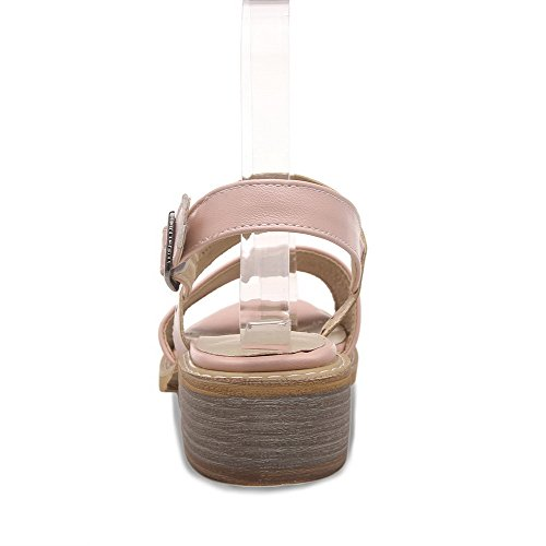 Leather Soft AgooLar Pink Heels Women's Sandals Solid Low Buckle Open Toe AYqpYXw