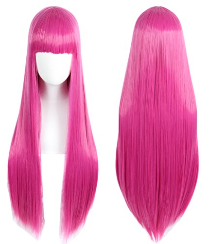 Linfairy Anime Hot Pink long Princess Wig Halloween Costume Cosplay Wig for Women 85CM -