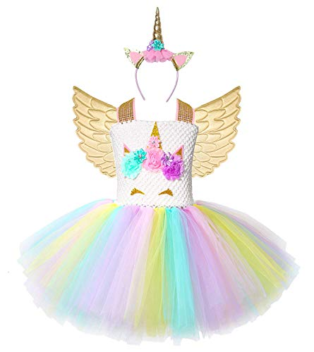 Cuteshower Girl Unicorn Costume, Baby Unicorn Tutu Dress Outfit Princess Party Costumes with Headband and Wings (5-6 Years, Gold)