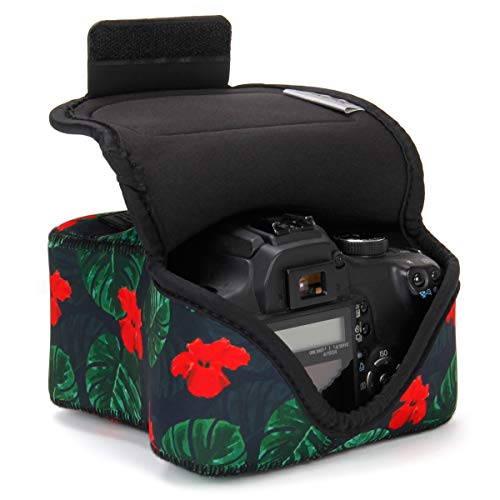 USA GEAR DSLR Camera Sleeve Case (Tropical) with Neoprene Protection, Holster Belt Loop and Accessory Storage – Compatible with Nikon D3400, Canon EOS Rebel SL2, Pentax K-70 and More