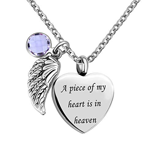 (LovelyCharms Love Heart Angel Wings Urn Necklace for Ashes Stainless Steel Keepsake Memorial Cremation (June))