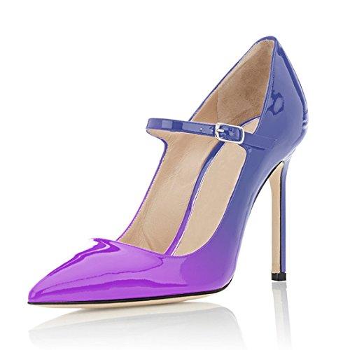 Donne Viola Caviglia 100 Jane Fibbia Tallone Punta Mary Aguzza Della blu Pompe Millimetri Pattini Eldof Chiusura Y6WWqS