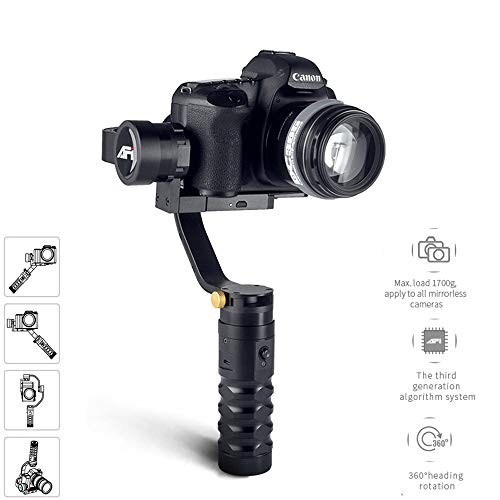Goodvon Cámara de Video stabilizerHandheld Gimbal estabilizador w/Focus Pull & Zoom para DSLR & cámaras sin Espejo Apoyo...