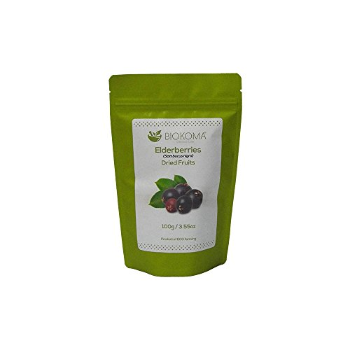 100% Pure and Natural Biokoma Elderberries Dried Fruits 100g (3.55oz) in Resealable Moisture Proof Pouch Review
