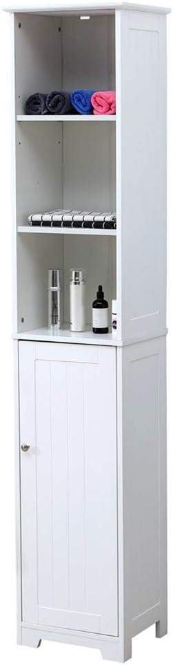 Mueble de baño para columna de entrada, salón, 6 estantes, puerta de madera, 37 x 30 x 180 cm, blanco, alto, ideal para ahorrar espacio