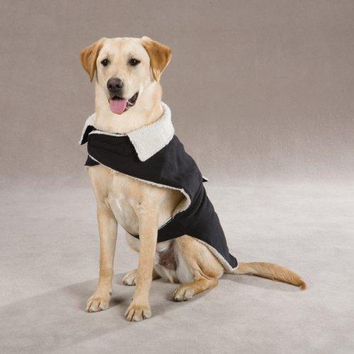Zack and Zoey 16-Inch Classic Sherpa Dog Jacket, Medium, Black, My Pet Supplies