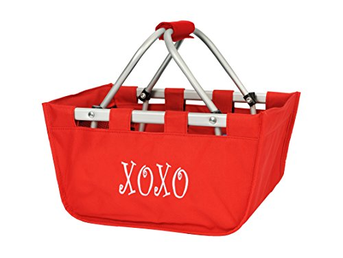 Personalized Red Mini Market Collapsible Tote Basket