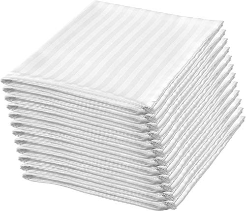 Niagara Sleep Solution 12Pack Pillow Protectors Standard 20x26 Inches Life Time Replacement 100% Cotton Sateen Dozen High Thread Count 400 Style Standard Zippered White Hotel Quality Covers Cases