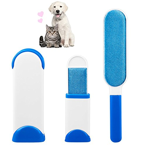 AIQI Pet Hair Remover, Reusable Fur Wizard Lint Brush with Self-Cleaning Base, Magic Travel Size Brush for Cat & Dog Grooming Clothing Carpet and Furniture Hair Removing