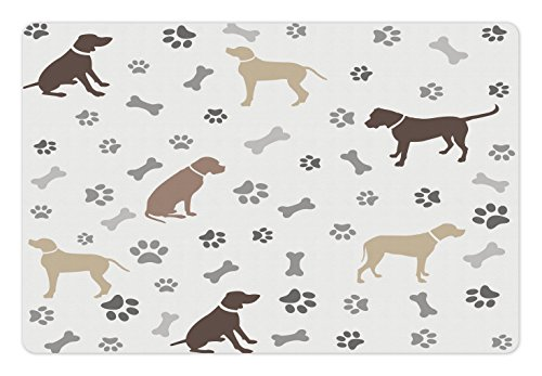 Ambesonne Dog Lover Pet Mat for Food and Water, Paw Print Bones and Dog Silhouettes American Foxhound Breed Playful Pattern, Rectangle Non-Slip Rubber Mat for Dogs and Cats, Umber Beige (Foxhound Silhouette)