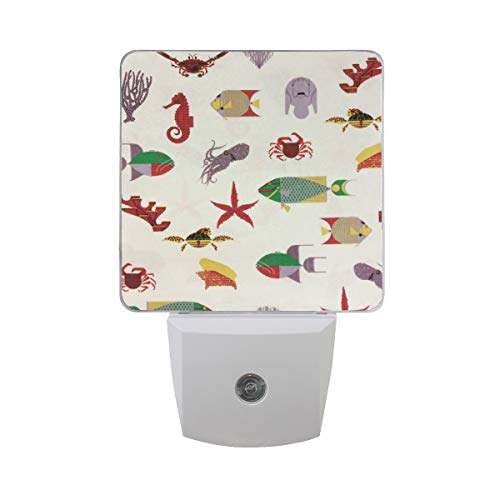 (Night Light Sea Life Seahorse Fish Coral Turtle Squid Night Lamp LED Sensor Auto on/Off Led Plug in Wall Lights 2 Pack)