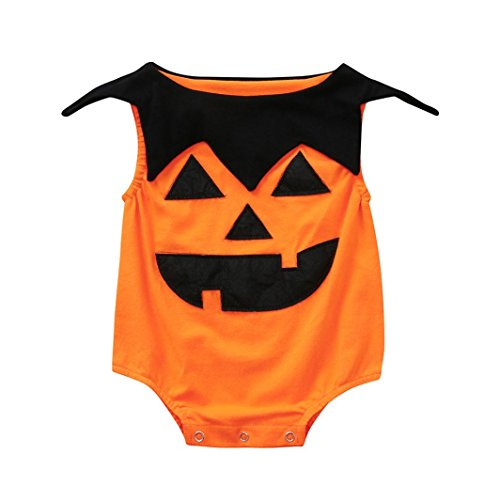 Ankola Halloween Jumpsuit,Newborn Toddler Infant Baby Girls Boys Sleeveless Romper Jumpsuit Halloween Costume Outfits (12M, Orange)]()