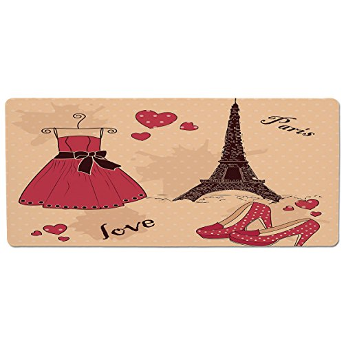 iPrint Pet Mat for Food and Water,Heels and Dresses,Paris Boutique French Retro Dress Shoes Eiffel Tower Decorative,Dark Brown Pink Pale Salmon,Rectangle Non-Slip Rubber Mat for Dogs and Cats