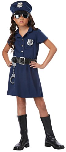 Girls Police Officer Kids Child Fancy Dress Party Halloween Costume, M (8-10) (Officer Fancy Dress)