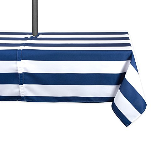 DII Blue Cabana Stripe Outdoor Tablecloth With Zipper, 60x120 w Nautical