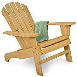 Costway Adirondack Chair Foldable Wood Seat Furniture Deck Lawn Garden Patio Outdoor (Style C)