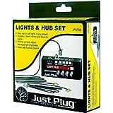 Just Plug: Lights & Hub Set w/Dimmer Controls: Warm White Stick-On LED Lights w/24 Cable (2) Woodland Scenics