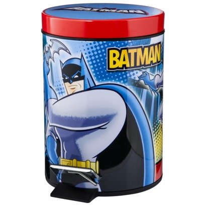 UPC 073558673460, Batman Metal Waste Basket with Step Controlled Lid