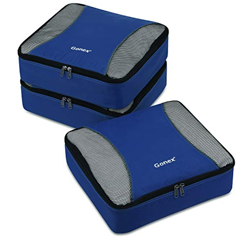 Free Packing - Gonex Packing Cubes 3 Set Travel Luggage Packing Organizers Pouches(Deep Blue)