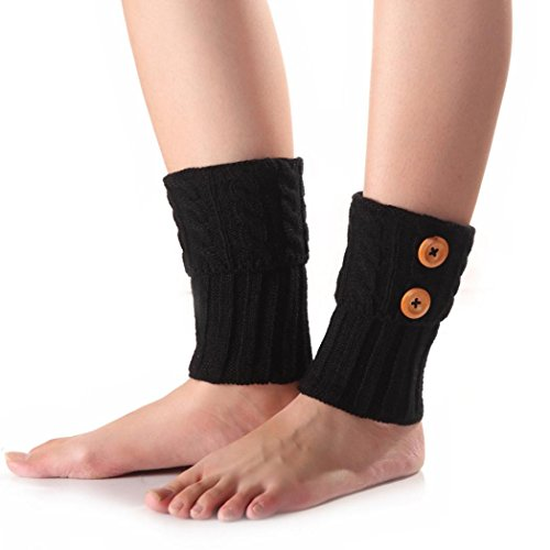 Acrylic Warmers Leg (Oksale Women Winter Warm Button Crochet Knitted Boot Ankle Cover Leg Warmers (Black))