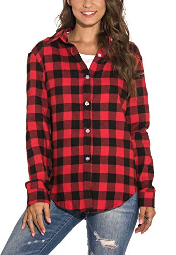 GUANYY Women's Long Sleeve Casual Loose Classic Plaid Button Down Shirt (Red Black, X-Large)