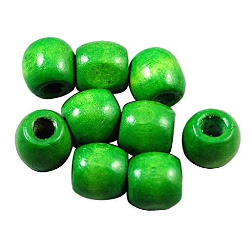 Fenteer 100Pcs Bulk 17 x 16mm Dyed Wooden Round Rondelle Beads Craft Beading Jewelry - Green, -