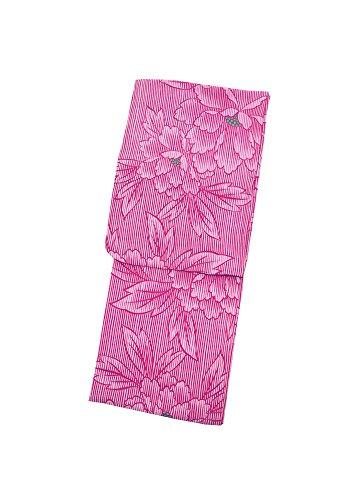 大工簡単に友だち[KIMONOMACHI] 浴衣 レディース 赤紫 縞に牡丹 フリーサイズ