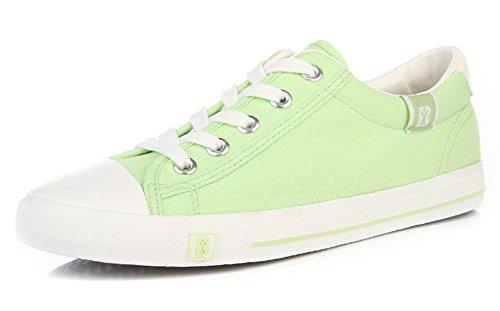 Aisun Damen Klassich Canvas Low Top Schnürsenkel Sneakers Grün