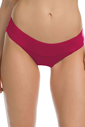 Becca by Rebecca Virtue Women's Color Splash Banded Hipster Bottom Raspberry - Red Splash Colour