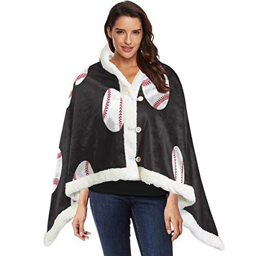 Wearable Throw Blanket Baseball Cape Shawls Scarf for Sofa Couch Cozy Warm Blanket