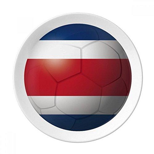 Costa Rica National Flag Soccer Football Dessert Plate Decorative Porcelain 8 inch Dinner Home -