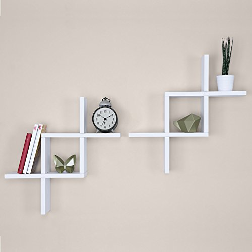 Ballucci Criss Cross Floating Wall Shelf, Set of 2, White