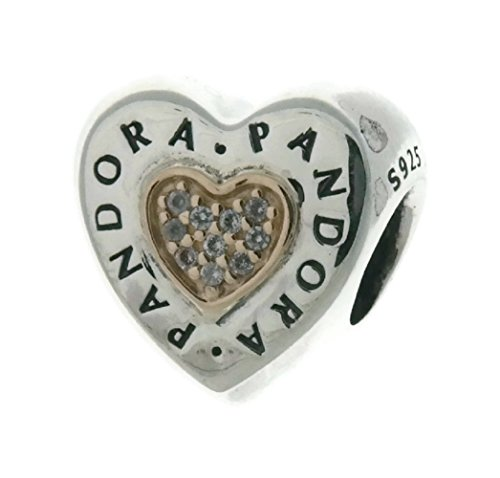PANDORA Logo Heart Charm in Sterling Silver with Clear Cubic Zirconia in 14k Gold Hearts - 796233CZ