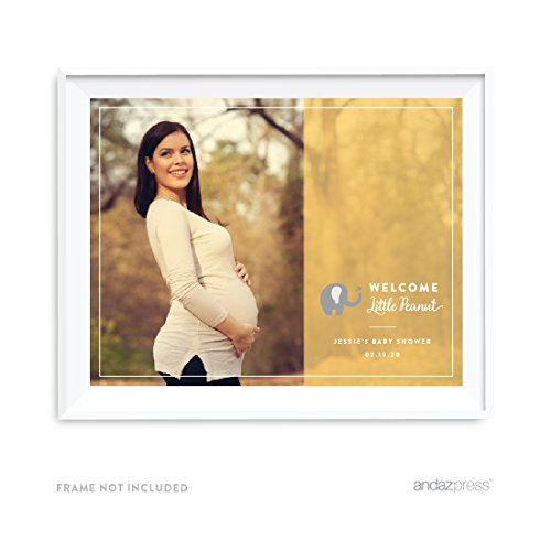 Andaz Press Photo Personalized Neutral Yellow Gray Elephant Baby Shower Collection, 8.5 x 11-inch Party Sign or Gift Wall Art, 1-Pack, Custom Image by Andaz Press