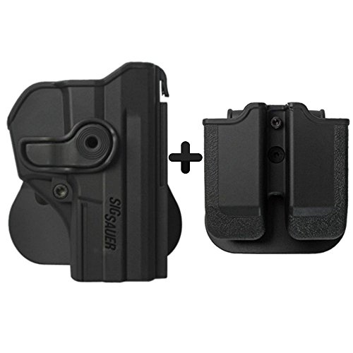 IMI Defense Tactical Combo Z1290 Best Roto Retention Paddle Holster + Double Magazine Pouch Black Polymer For Sig Sauer Pro SP2022/SP2009 Pistol Handgun