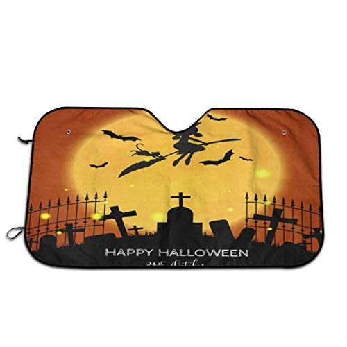 Cute Witch Flying Halloween Party 31St October Windshield Sun Shade Visor - Pop Culture Novelty Car Accessory Car Sun Shade UV Protector Shield Auto Window Windshield Cooler Truck SUV (51