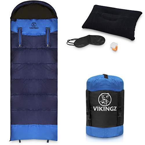 VIKINGZ Schlafsack für Erwachsene (3-4) Jahreszeiten Kinderschlafsack warm & gemütlich | Deckenschlafsack…