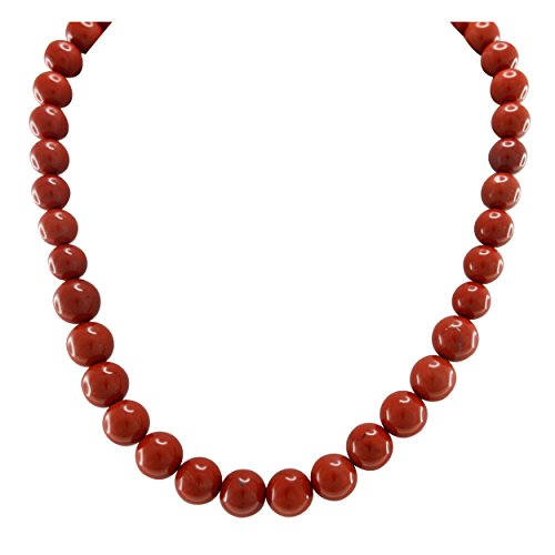 Pearlz Ocean Red Jasper Beaded Strand Necklace Sterling Silver Clasp Fashion Jewelry for Women - Sterling Red Jasper