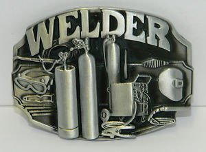 Price comparison product image Brushed Silver Welder Mig Welding Torch Trades Must Have New Belt Buckle
