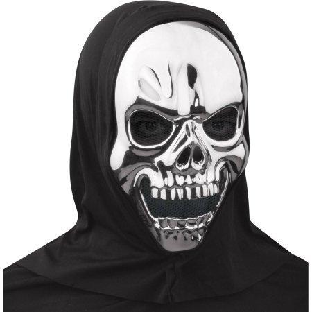 Metallic Skull Mask (Metallic Silver Skull Mask Halloween Accessory)