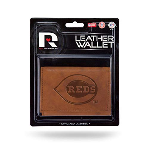 Cincinnati Reds MLB Embossed Brown Leather Trifold Wallet