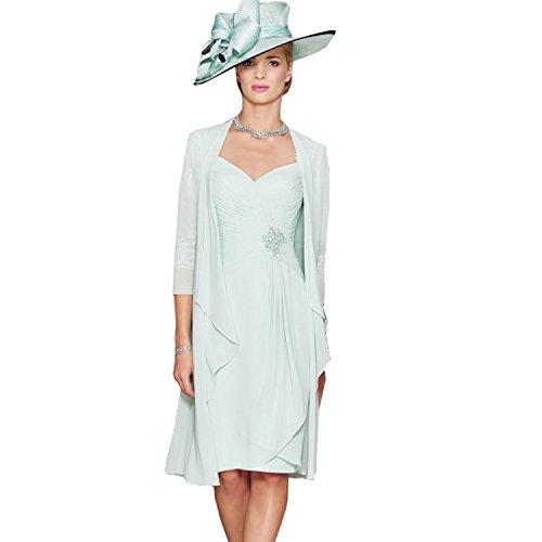 Dressvip Femme Elgante Robe Mre de Cocktail de Crmonie pour Mariage Manches 3/4 Longueur Genou Menthe Vert avec Manteau en Mousseline